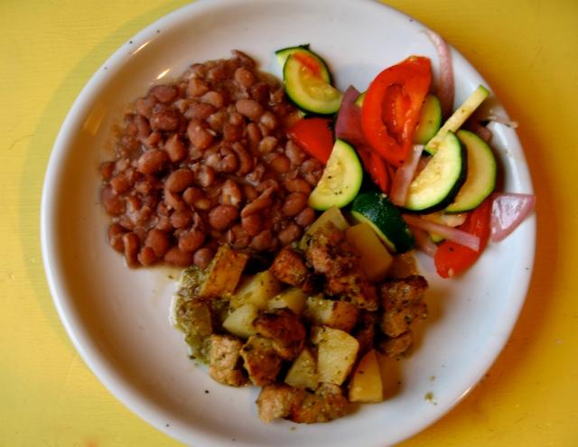 Carne Adovada (sorta), frijolitos pintos, and a version of calabacitas