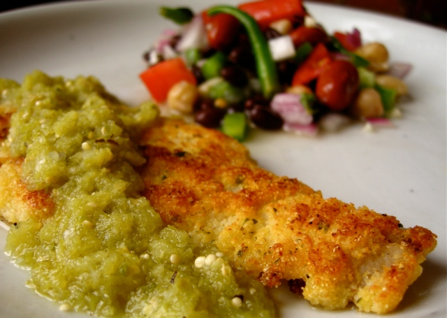 Lightly Breaded Sole with Tomatillo Sauce